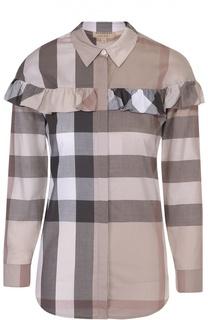 Блуза прямого кроя в клетку с оборкой Burberry