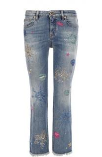 Укороченные расклешенные джинсы с контрастной вышивкой Roberto Cavalli