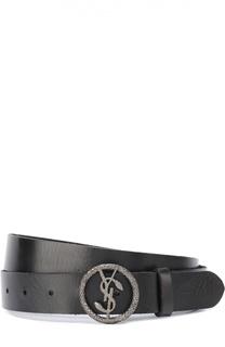 Кожаный ремень с металлической пряжкой Saint Laurent