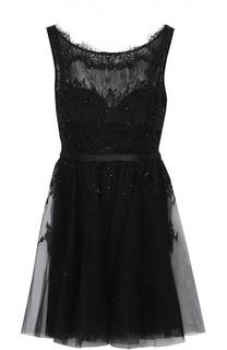 Приталенное кружевное мини-платье с открытой спиной Basix Black Label