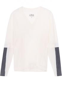 Пуловер прямого кроя с контрастной отделкой и V-образным вырезом Maison Margiela
