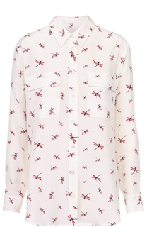 Шелковая блуза с накладными карманами и контрастным принтом Equipment