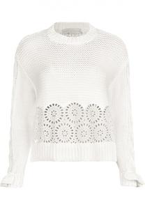 Хлопковый расклешенный пуловер с кружевной вставкой Stella McCartney