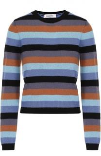 Укороченный кашемировый пуловер в полоску Valentino