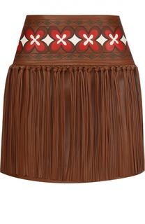 Кожаная мини-юбка с контрастным принтом и бахромой Valentino