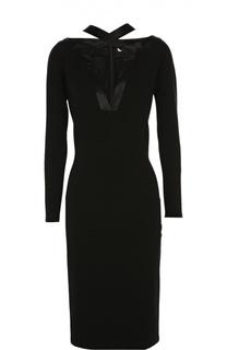 Приталенное платье из вискозы с шелковой лентой Givenchy