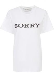Удлиненная футболка прямого кроя с контрастной надписью Walk of Shame
