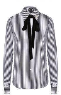 Хлопковая блуза в полоску с бархатным воротником аскот Marc Jacobs