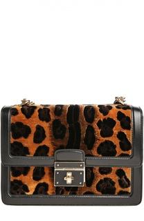 Сумка Rosalia с отделкой из вельвета с леопардовым принтом Dolce & Gabbana