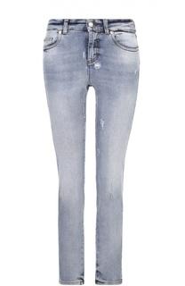 Укороченные джинсы-скинни с потертостями Alexander McQueen
