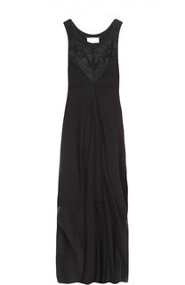 Платье асимметричного кроя с кружевной отделкой Maison Margiela