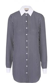 Удлиненная блуза в полоску с контрастными манжетами и воротником Michael Kors