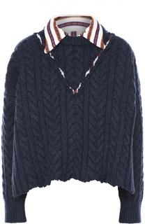 Укороченный пуловер фактурной вязки с контрастным отложным воротником Maison Margiela