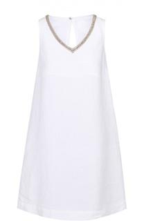 Льняное мини-платье с контрастной вышивкой 120% Lino