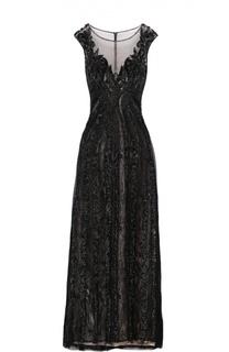 Приталенное платье в пол с декоративной вышивкой Basix Black Label