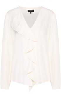 Шелковая блуза прямого кроя с V-образным вырезом и оборками Theory