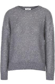 Пуловер прямого кроя с круглым вырезом и пайетками Saint Laurent