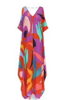 Шелковая туника с открытыми плечами и ярким принтом Lazul