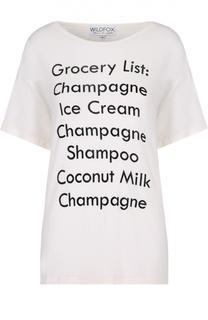 Удлиненный футболка свободного кроя с контрастной надписью Wildfox