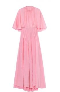 Приталенное шелковое платье-макси с кейпом Valentino