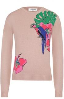Кашемировый пуловер прямого кроя с контрастной вышивкой Valentino