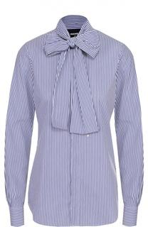 Хлопковая блуза в полоску с воротником аскот Dsquared2