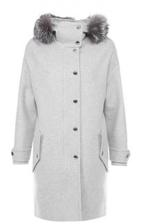 Шерстяное пальто прямого кроя с меховой отделкой капюшона Burberry