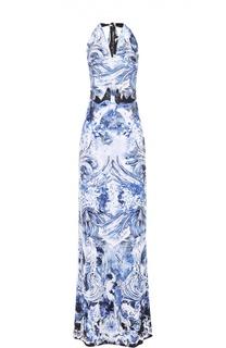 Приталенное платье в пол с ярким принтом и открытой спиной Roberto Cavalli