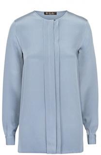 Шелковая блуза с планкой и круглым вырезом Loro Piana