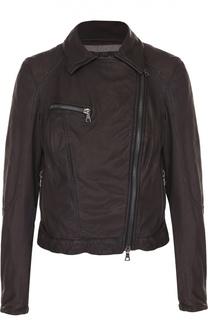 Укороченная кожаная куртка с косой молнией DROMe