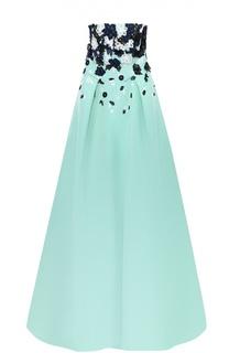Шелковое платье в пол с контрастной цветочной отделкой Oscar de la Renta