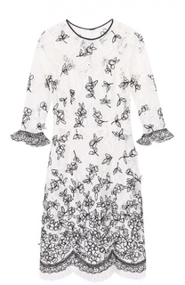 Кружевное мини-платье с укороченным рукавом и контрастной отделкой Oscar de la Renta