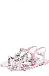 Сандалии Beachwear с кристаллами Dolce & Gabbana