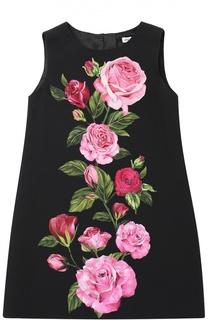 Платье из вискозы с цветочным принтом Dolce & Gabbana