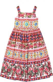 Сарафан из хлопка с принтом Dolce & Gabbana