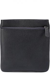 Кожаная сумка-планшет с внешним карманом на молнии Giorgio Armani