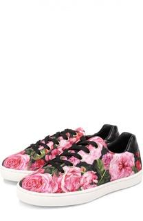 Текстильные кеды с цветочным принтом Dolce & Gabbana
