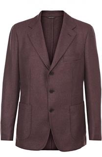 Однобортный пиджак из смеси кашемира и шелка Loro Piana
