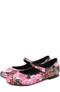 Текстильные балетки с цветочным принтом Dolce & Gabbana