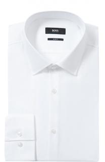 Хлопковая приталенная сорочка с воротником кент BOSS