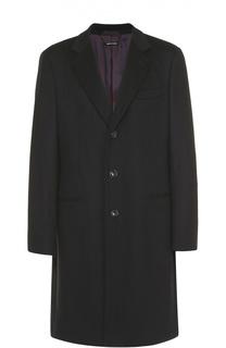 Однобортное пальто из смеси шерсти и кашемира Giorgio Armani