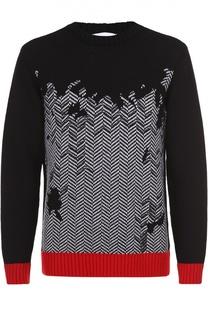 Шерстяной свитер с узором и контрастной отделкой Iceberg