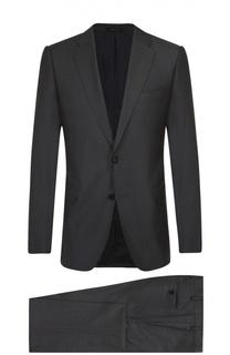 Приталенный костюм из смеси шерсти и шелка Armani Collezioni