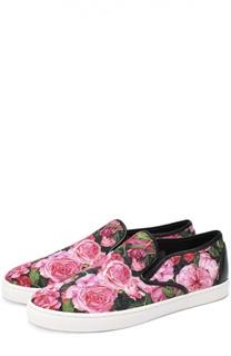 Текстильные слипоны с цветочным принтом Dolce & Gabbana