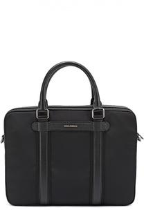 Портфель Mediterraneo с плечевым ремнем и отделкой из натуральной кожи Dolce & Gabbana