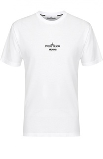 Хлопковая футболка с принтом Stone Island