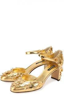 Туфли Vally из металлизированной кожи с декором Dolce & Gabbana