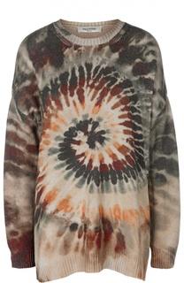 Кашемировый пуловер свободного кроя с принтом Valentino