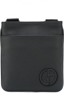 Кожаная сумка-планшет с внешним карманом Giorgio Armani