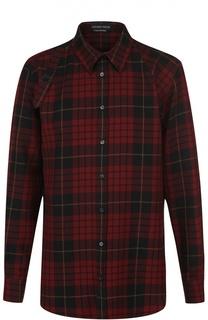 Шерстяная рубашка в клетку с декоративной пряжкой Alexander McQueen
